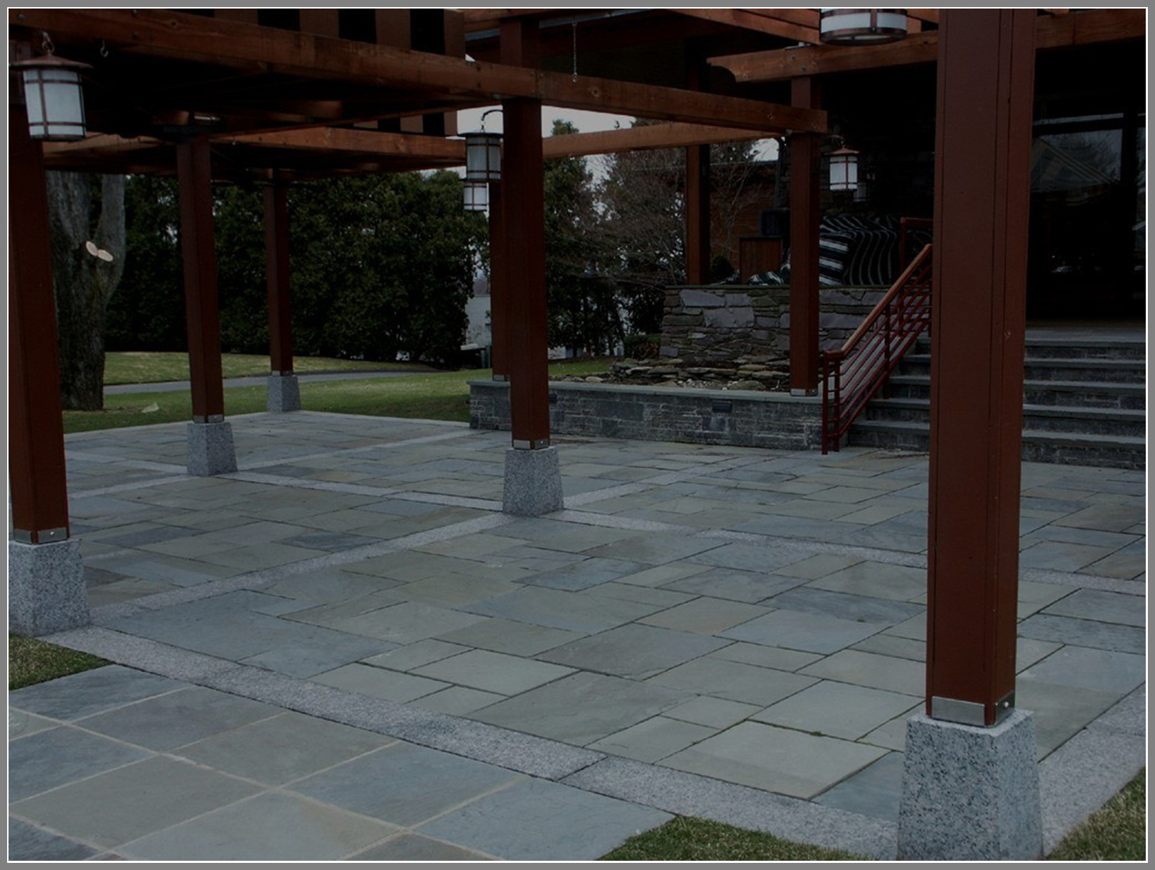 Blue stone patio with pergola