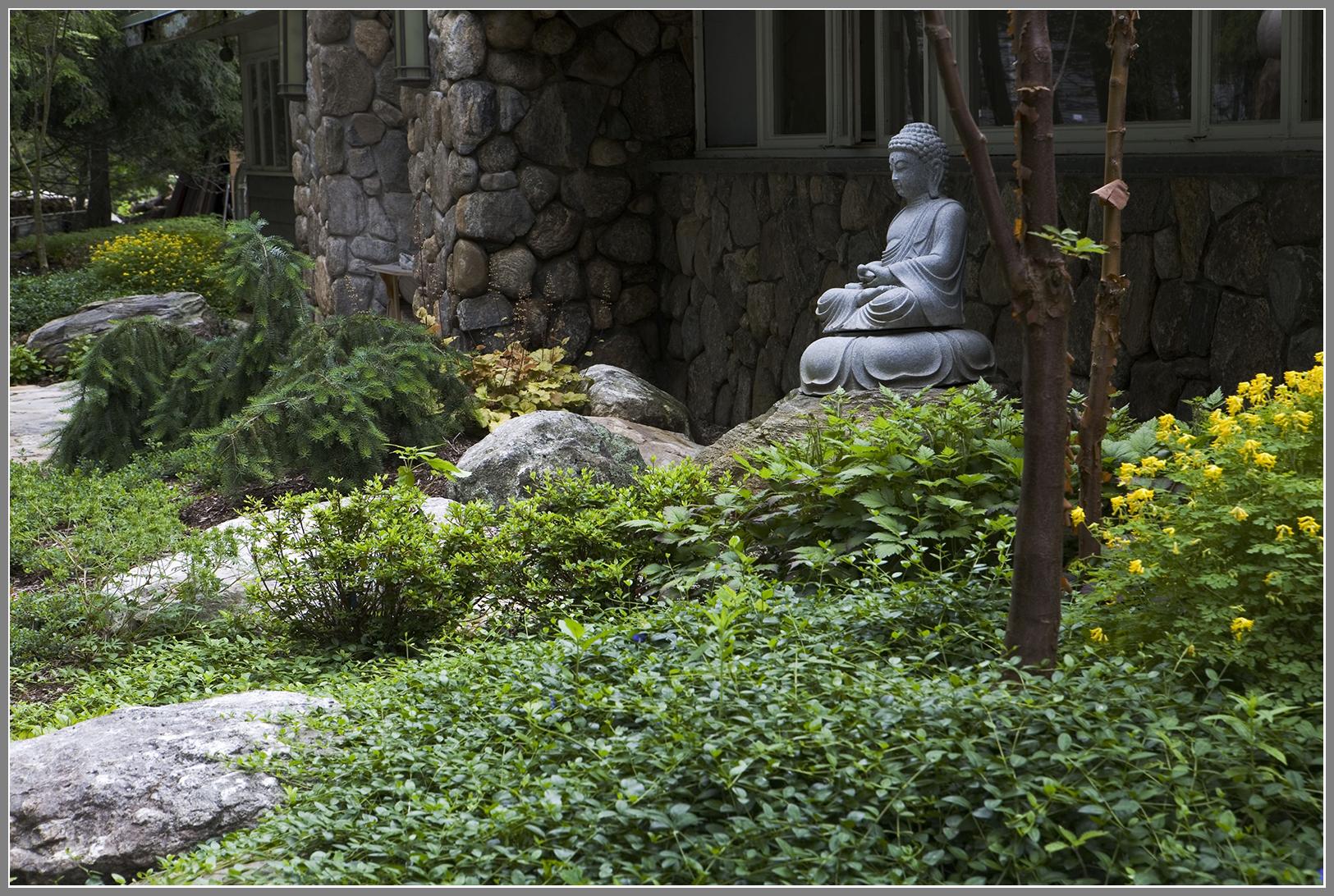 Buddha statue in meditation garden