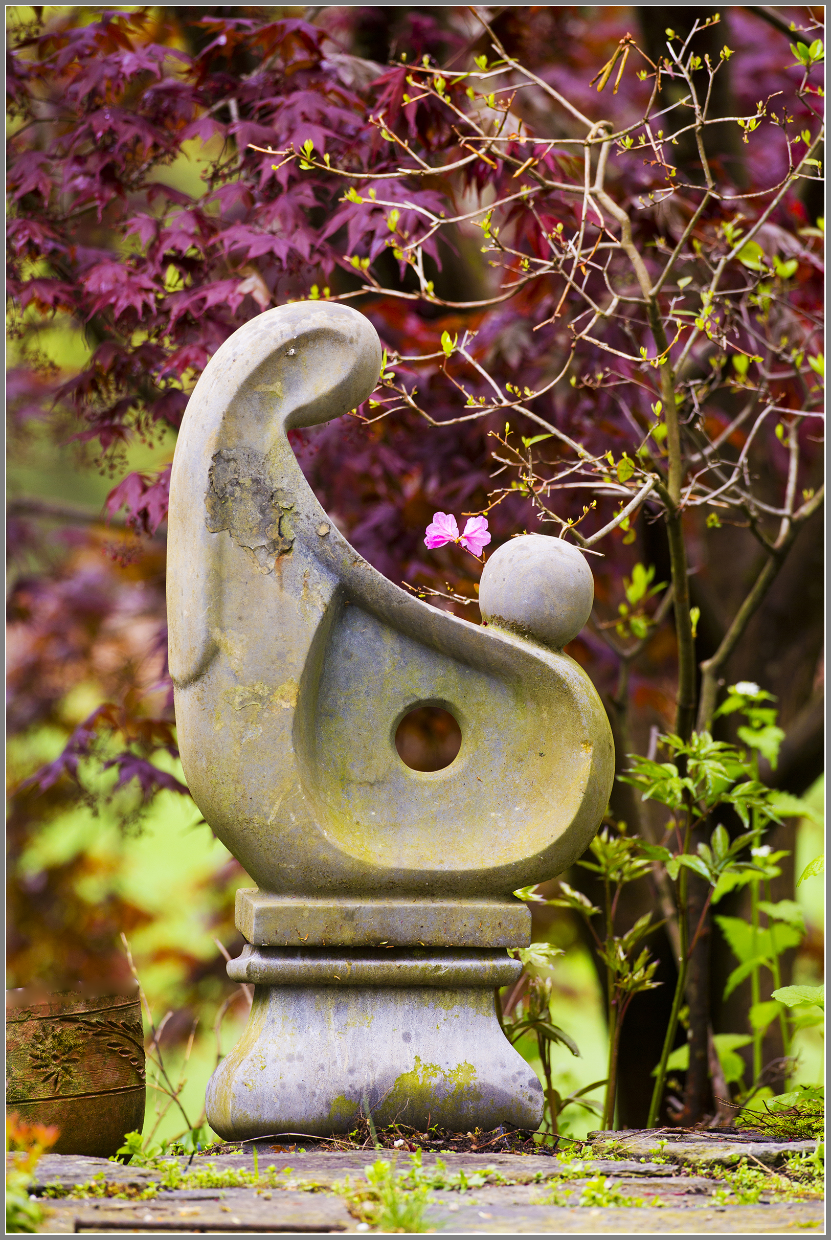 Stone sculpture in a garden
