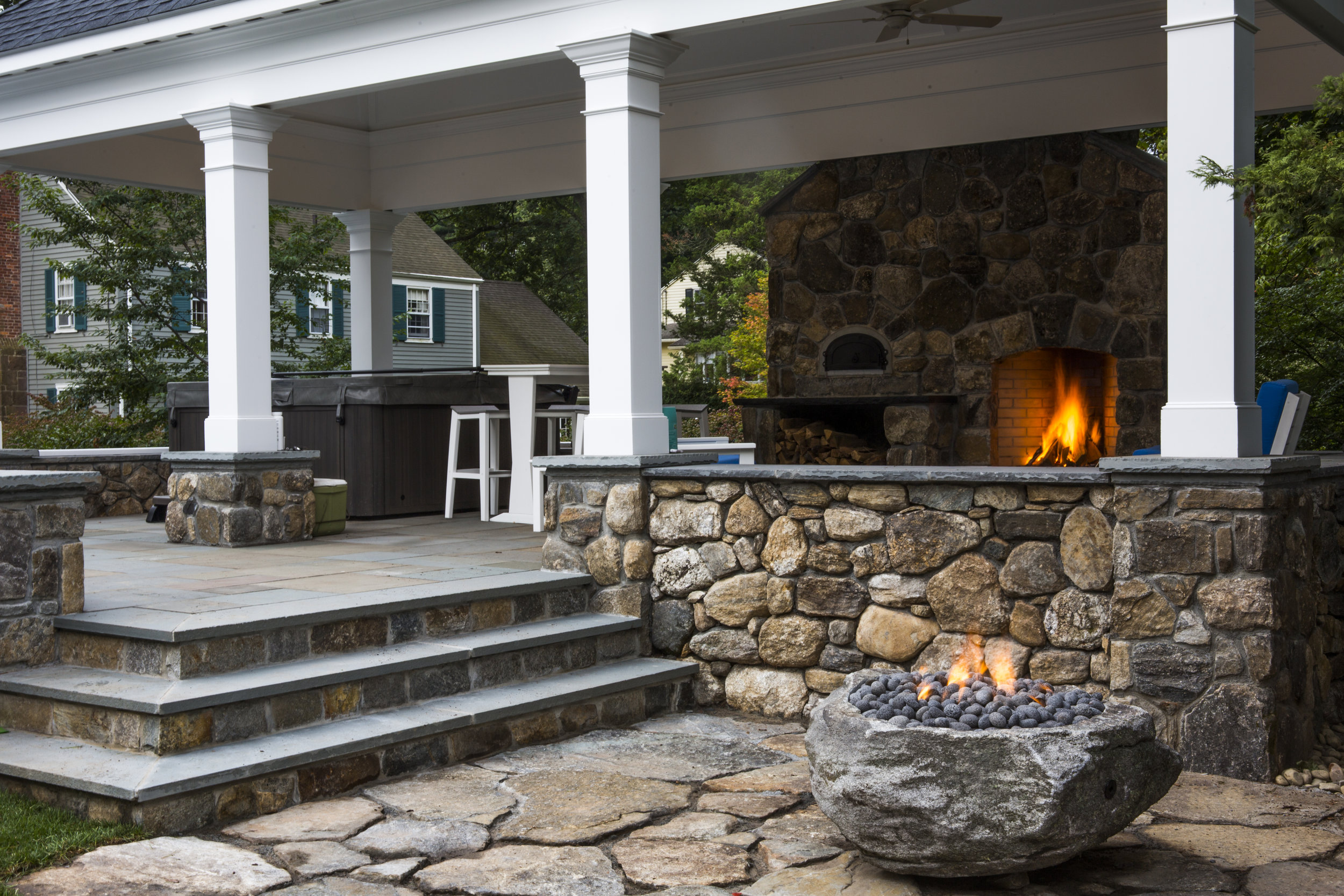 Outdoor firplace and custom made fire bowl. West Hartford.