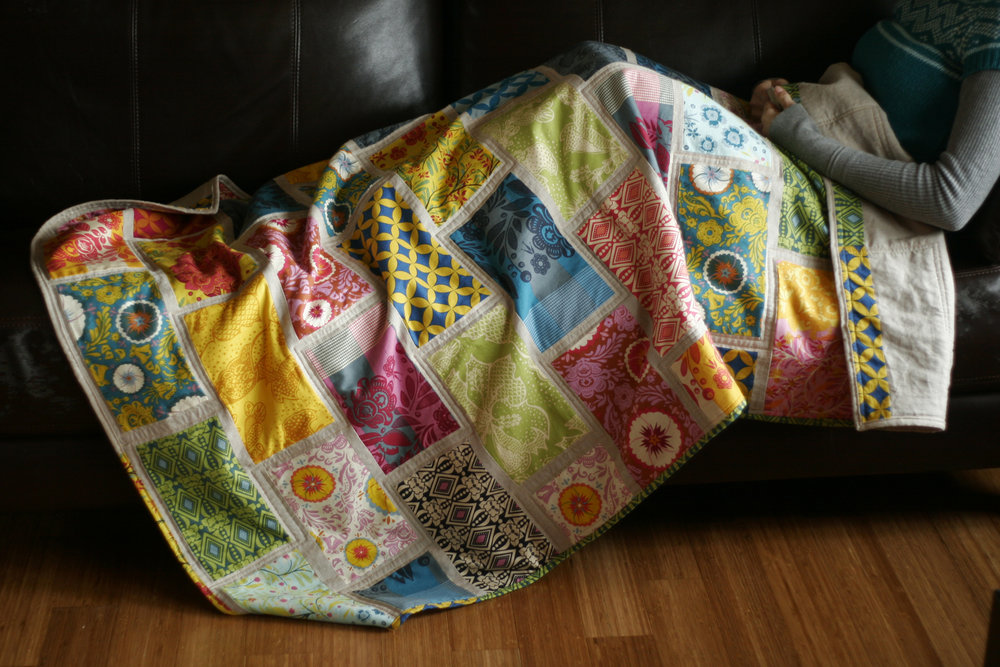 """Colorbrick"" a Free Row of the Month (or Row) Quilt Pattern designed by Rachel Hauser from Stitched in Color"