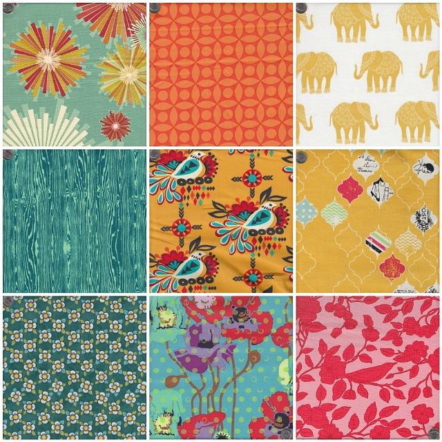 1.  Frippery Starburst  2.  Technicolor Tile  3.  Madhuri Elephant 4.  Wood Grain  5.  Sierra Folk Bird  6.  Loving Life  7.  Dogwood Bloom  8.  Poppies in Candy  9.  Vintage Floral