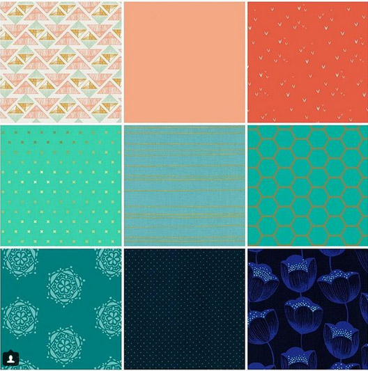 1.  Crystal Arrowheads in Crystal   2.  Pure Elements Solid in Apricot Crepe   3.  Sacred Seeds in Tigerlily   4.  XOXO in Toy Boat / Gold Metallic   5.  Gold Stripes in Aqua Metallic   6.  Hex in Teal   7.  Bejeweled Seal in Teal   8.  Add It Up in Indigo   9.  Tulips Rayon in Navy