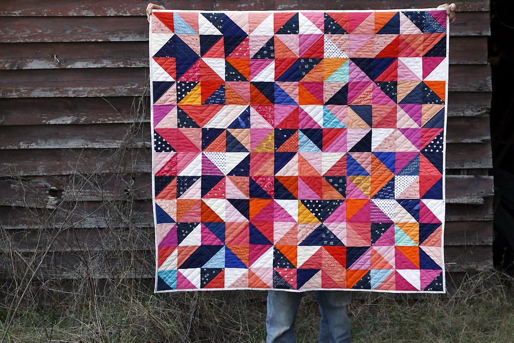 tossed Half Square Triangles quilt