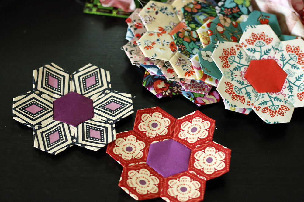 Fussy cut hexagon flowers.jpg