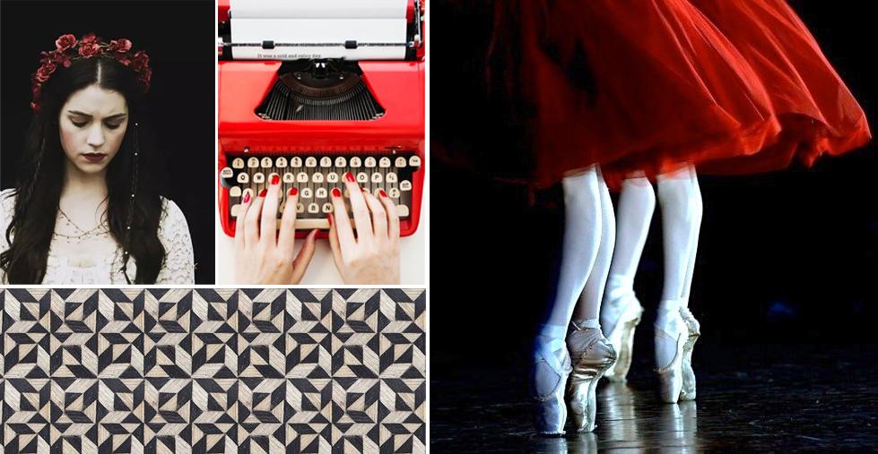 Snow White ,  typewriter ,  geometric ,  dancers .
