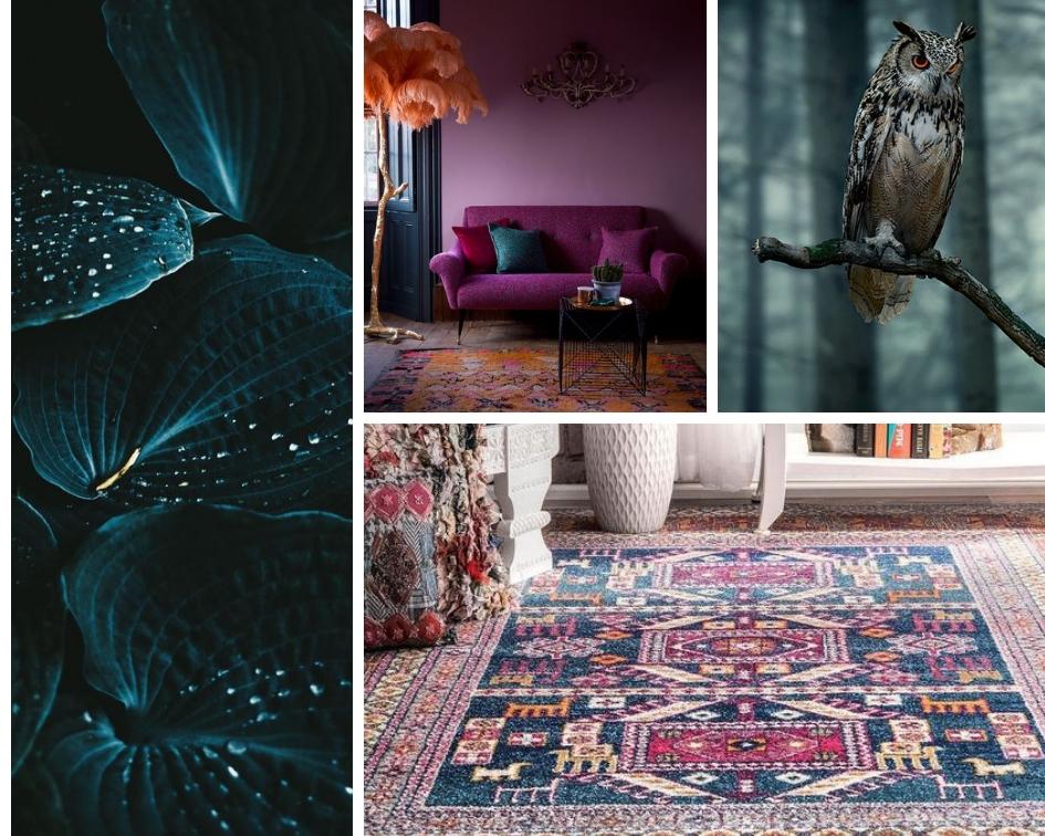 velvet leaves ,  purple sofa ,  owl ,  rug