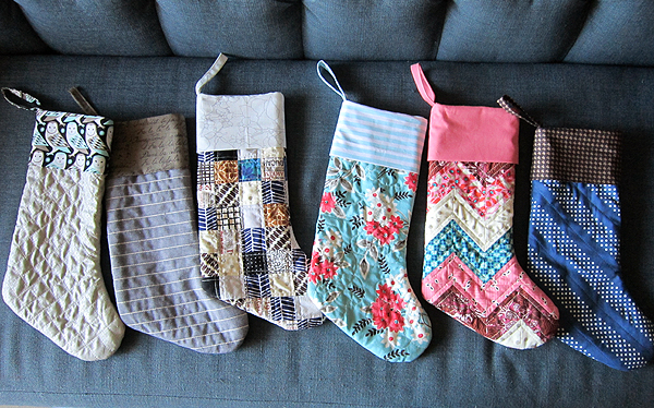 Patchwork Christmas Stockings. Stitched in Color