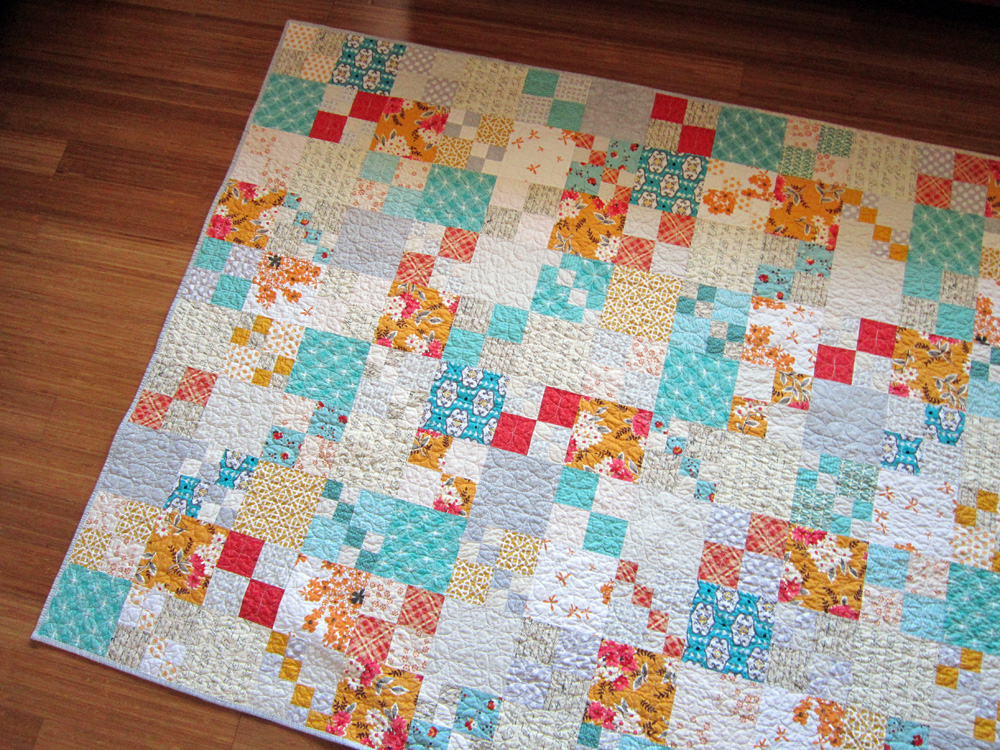 Vintage Tangerine Penny Patch quilt. Stitched in Color.jpg
