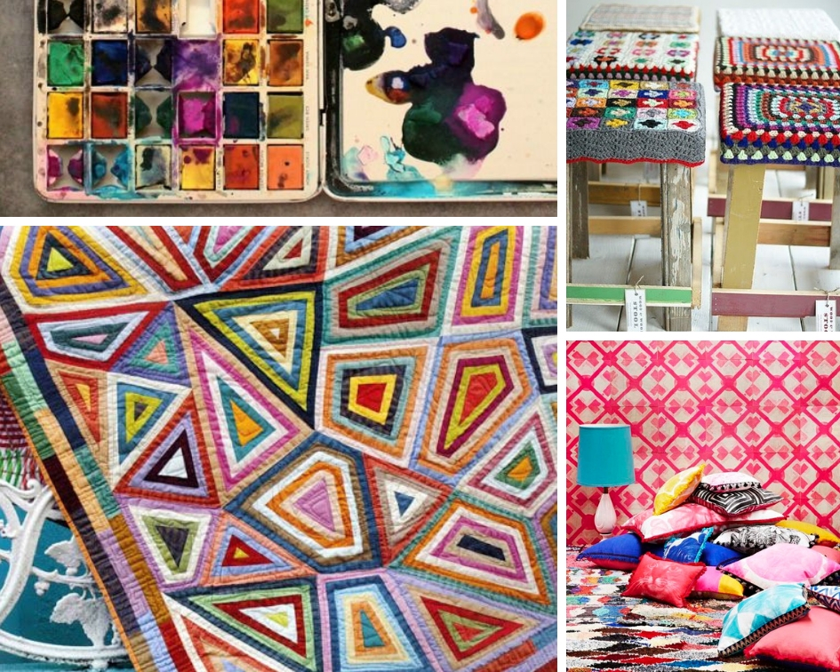 watercolors ,  Wood + Wool stools ,  Kaffe Fasset quilt ,  pile of pillows