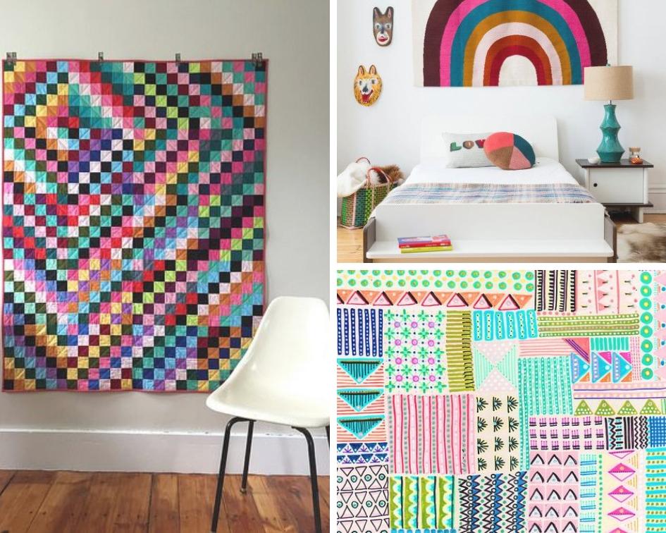 Salty Oat quilt ,  rainbow room ,  illustration