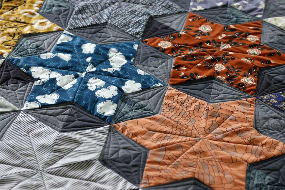 Quilted Starburst Star quilt. Stitched in Color.jpg