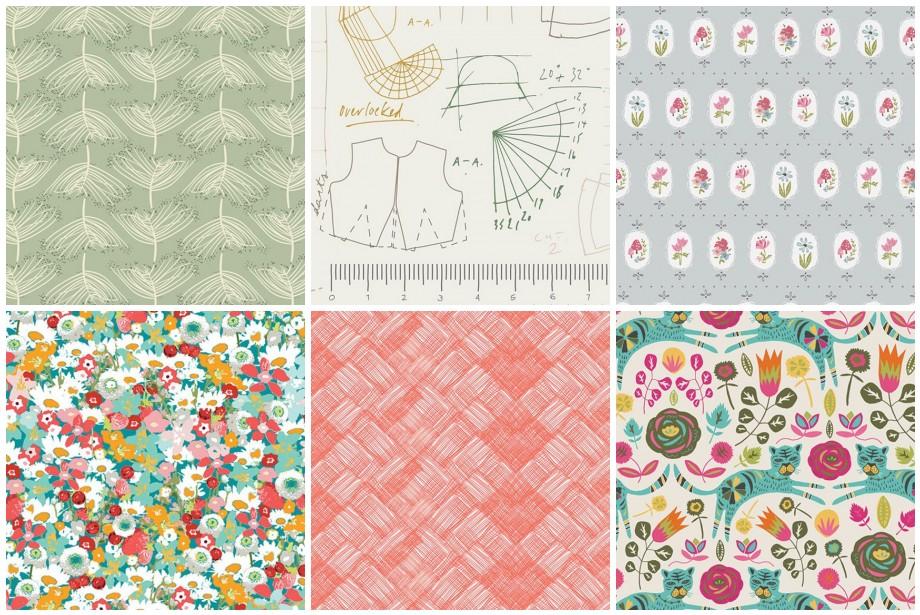 1.  Forest Floor Laced Moss  2.  Maker Make Patterns  3.  Dollhouse Prairie Dot  4.  Lavish Flowered Medley  5. A nna Elise Hatch  6.  Tallinn Tigris Lollipop