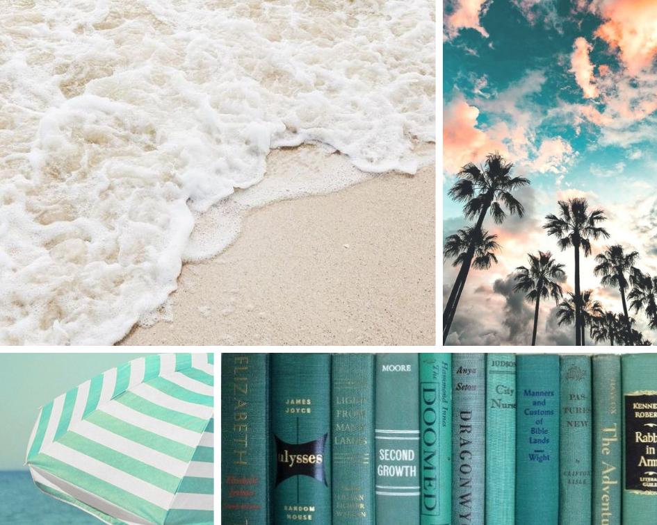 shore ,  palms ,  books ,  umbrella