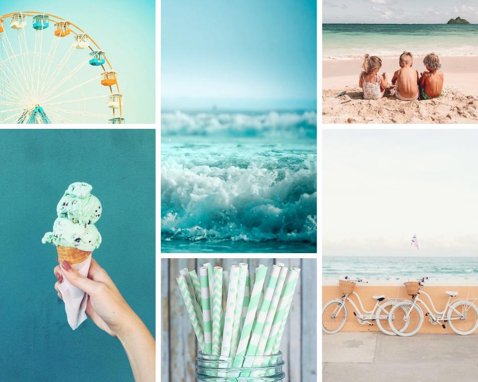 carnival print ,  waves ,  children ,  bikes ,  straws ,  ice cream
