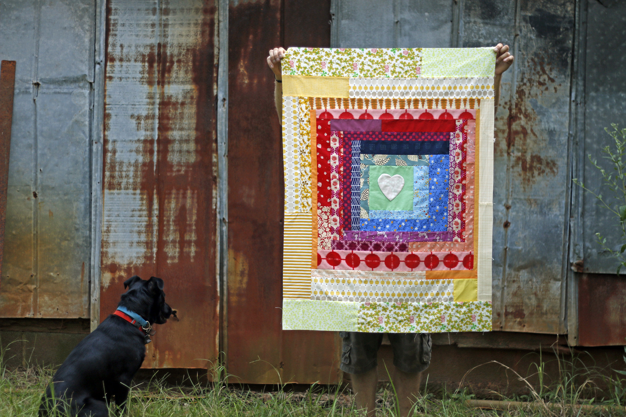 Rainbow Log Cabin Heart quilt. Stitched in Color.jpg