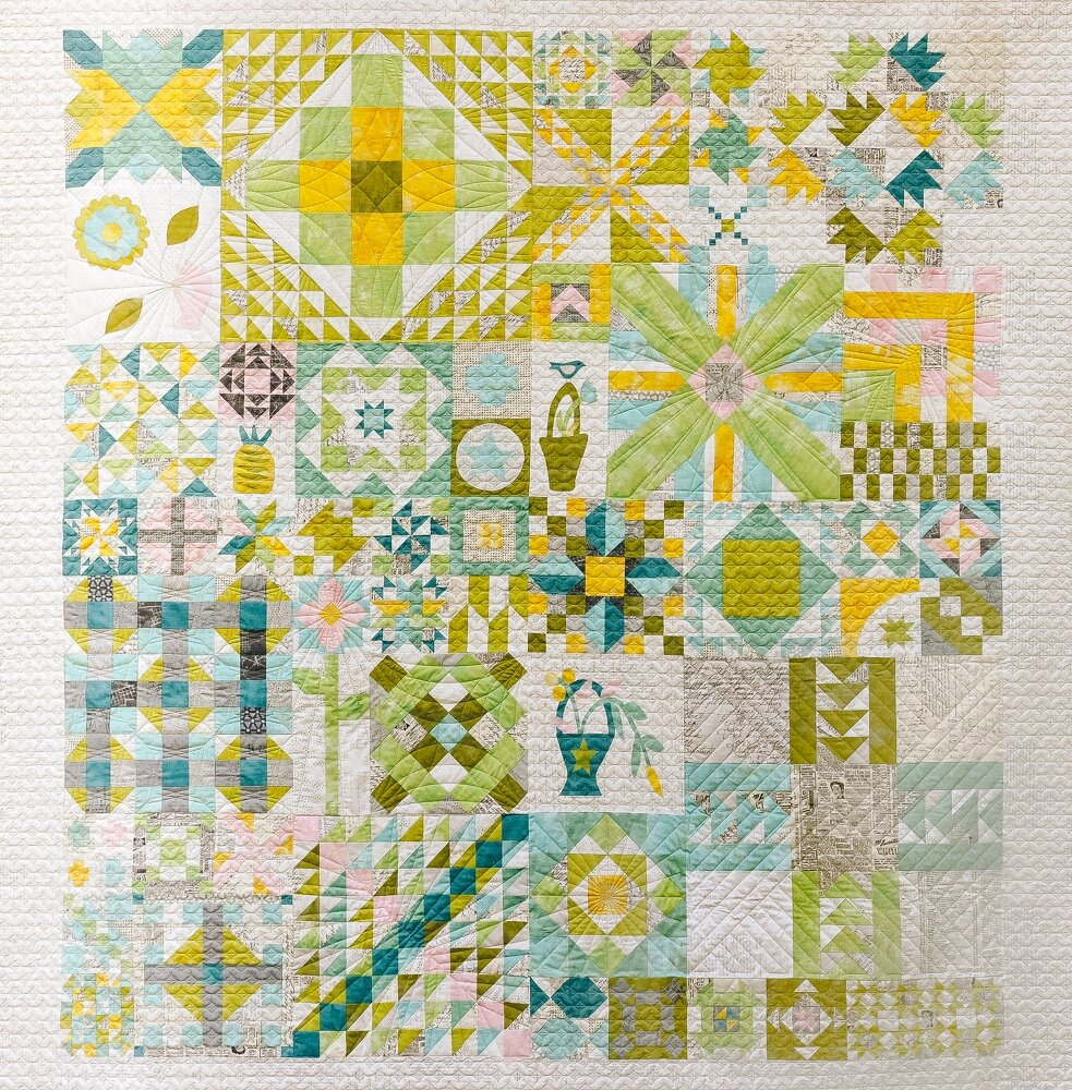 Moda Blockheads Sampler Quilt, find all blocks on Zen Chic's Sew Along or at Moda's Facebook Blockheads Group, this photo by Brigitte Heitland.