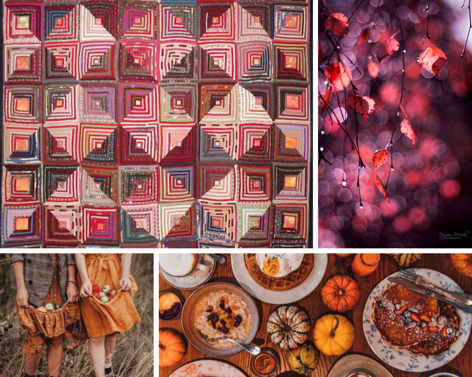 Sandi Walton quilt ,  autumn leaves ,  gathering fruit ,  table spread