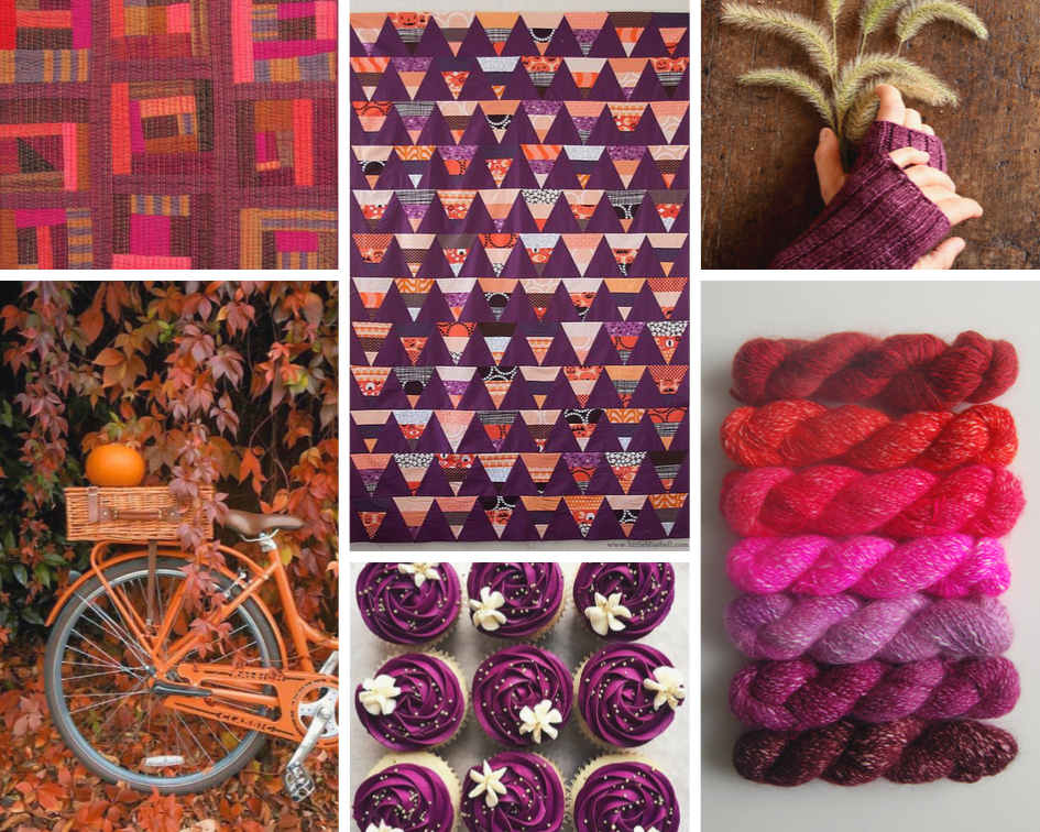 BooDilly Scrap Quilt ,  bike ,  Little Bluebell Candy Corn Quilt ,  cupcakes ,  Purl Soho hand warmers ,  Purl Soho yarn