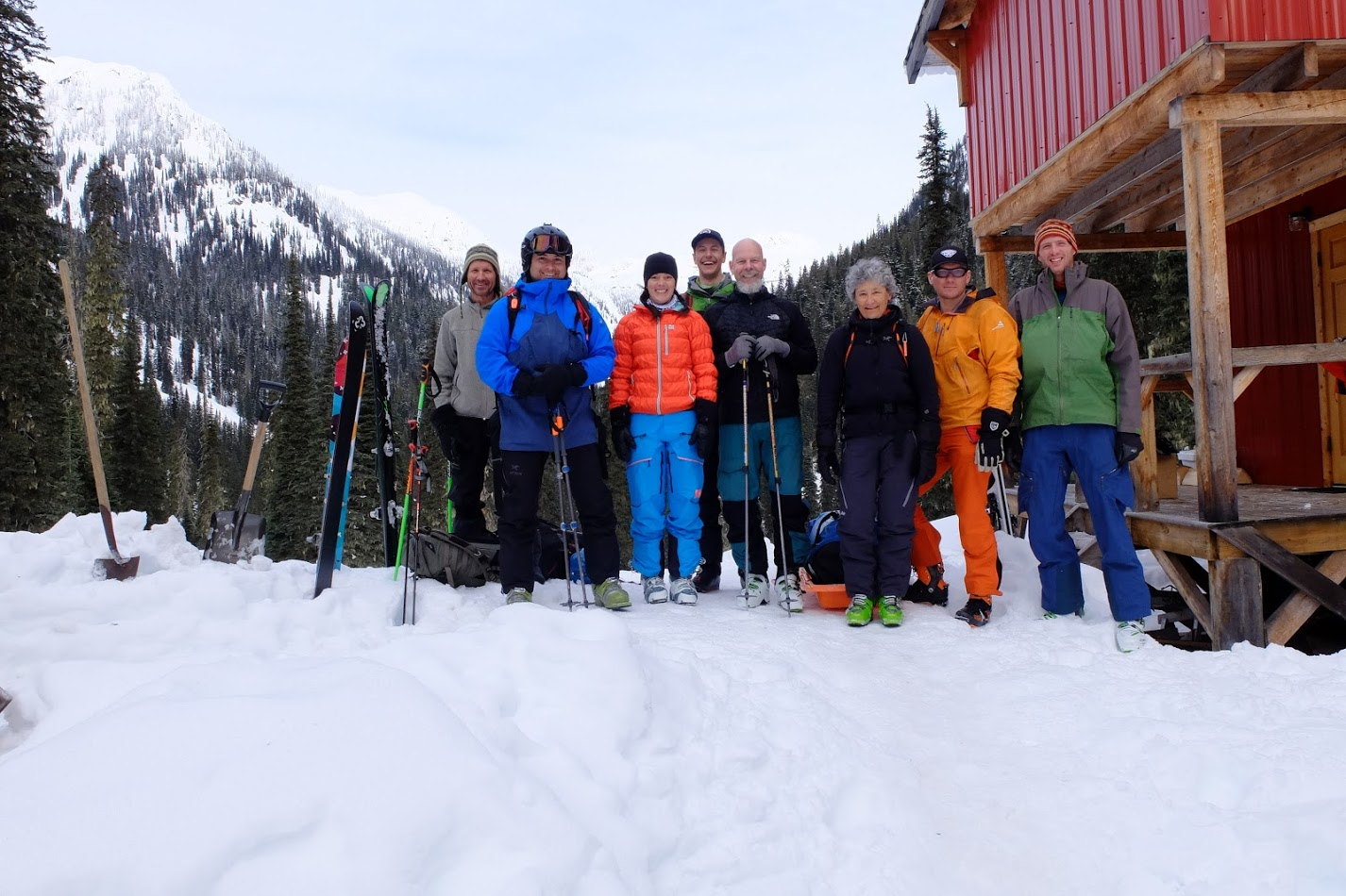 The group outside the hut