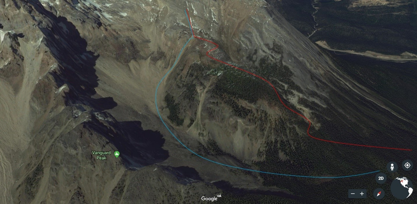 A better look at the Bushwhack route (red) vs South Couloir route (blue). (Approximate routes drawn in).