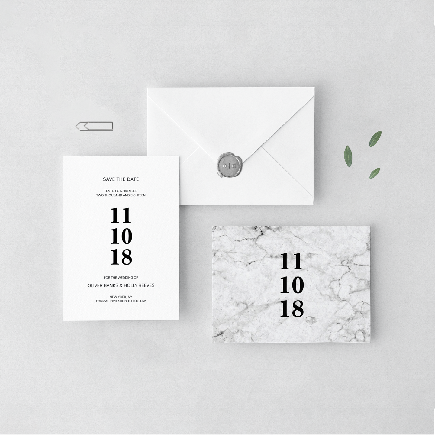 Modern marble save the dates