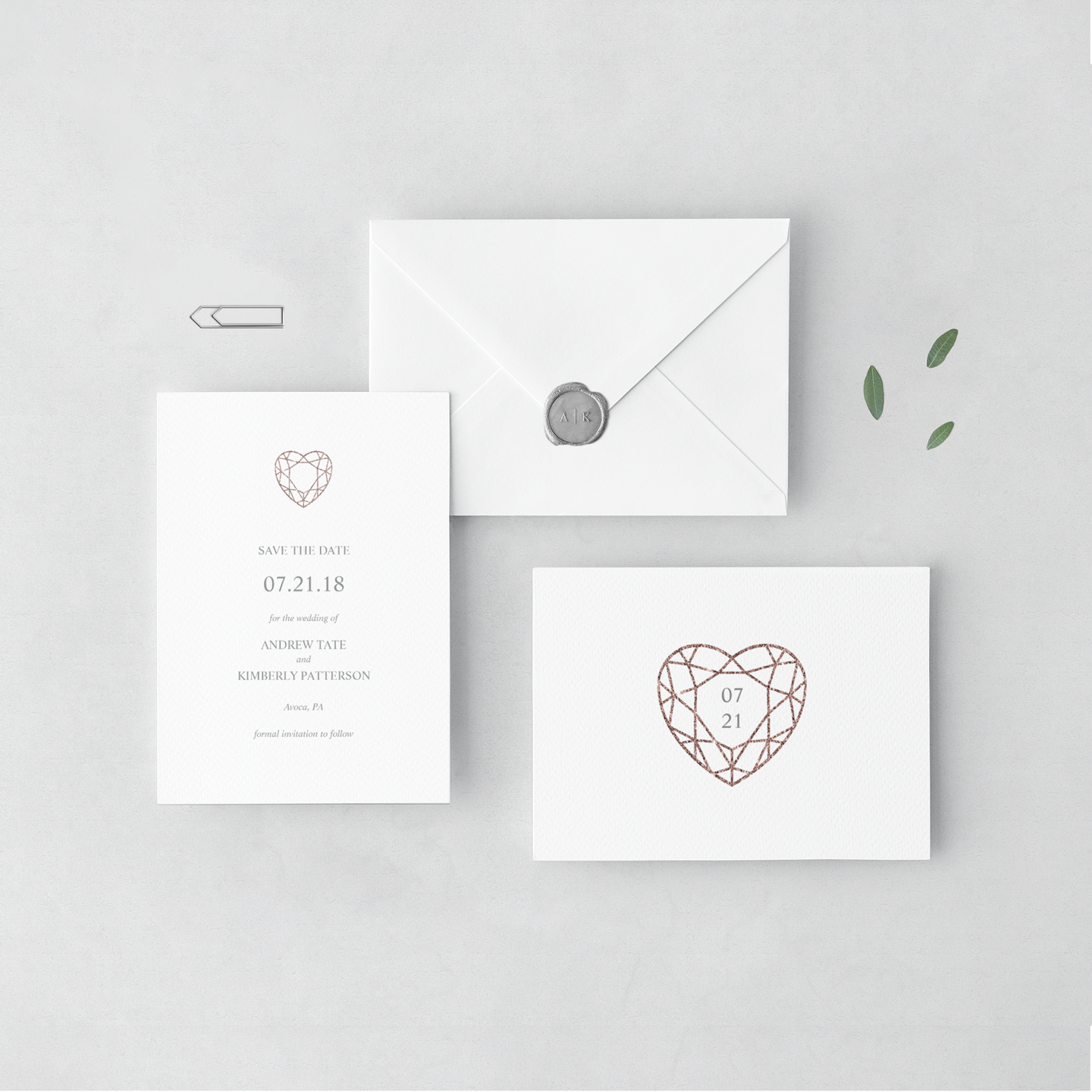 Rose gold heart save the dates