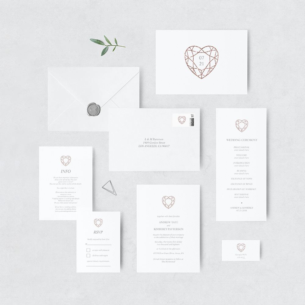 Rose gold heart invitation suite