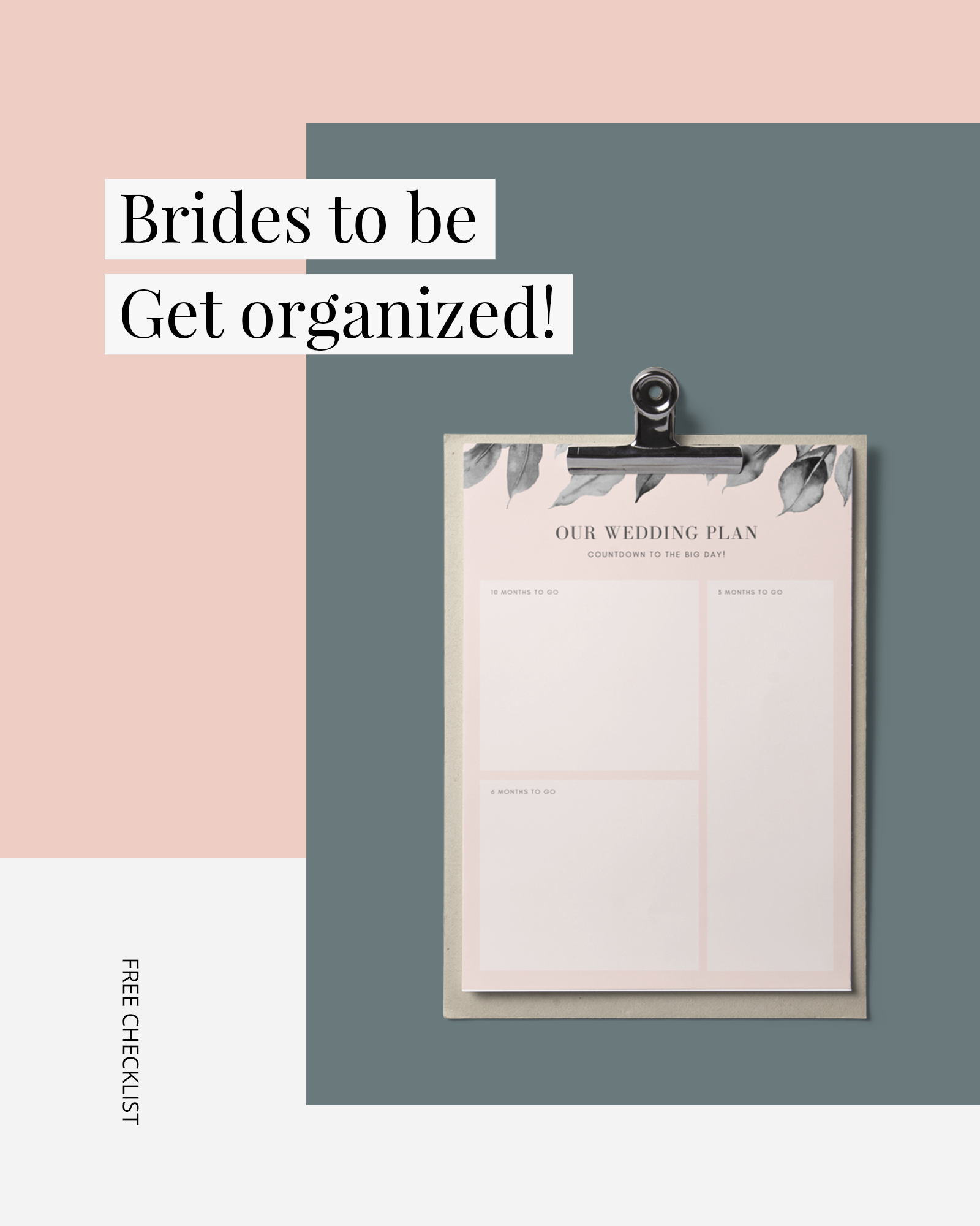 Bold rectangles pink and green overlapping - Brides to be get organized free wedding checklist
