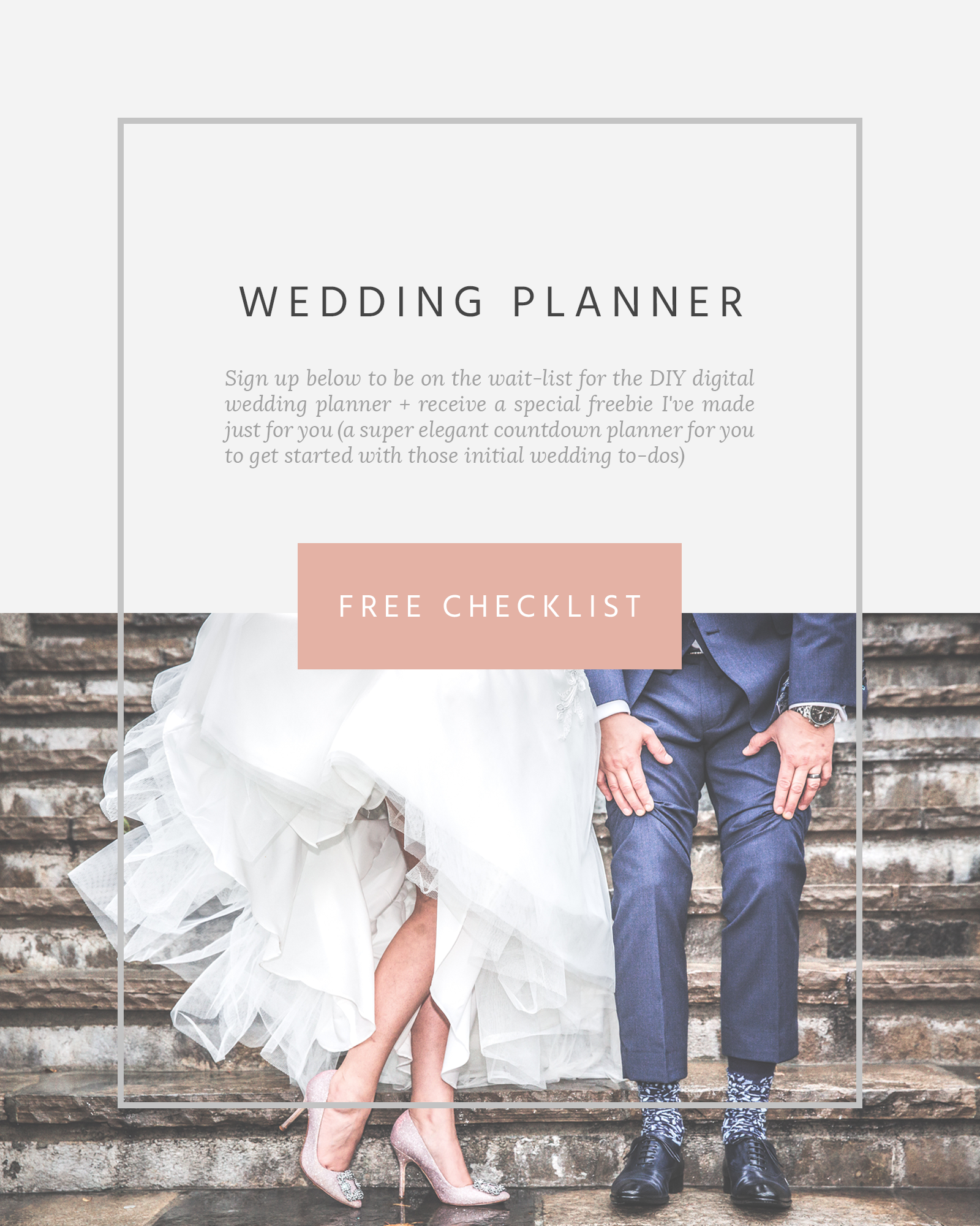 Lower half photo of Bride and Groom showing off pink heels and blue patterned socks - waitlist for digital wedding planner plus free wedding checklist