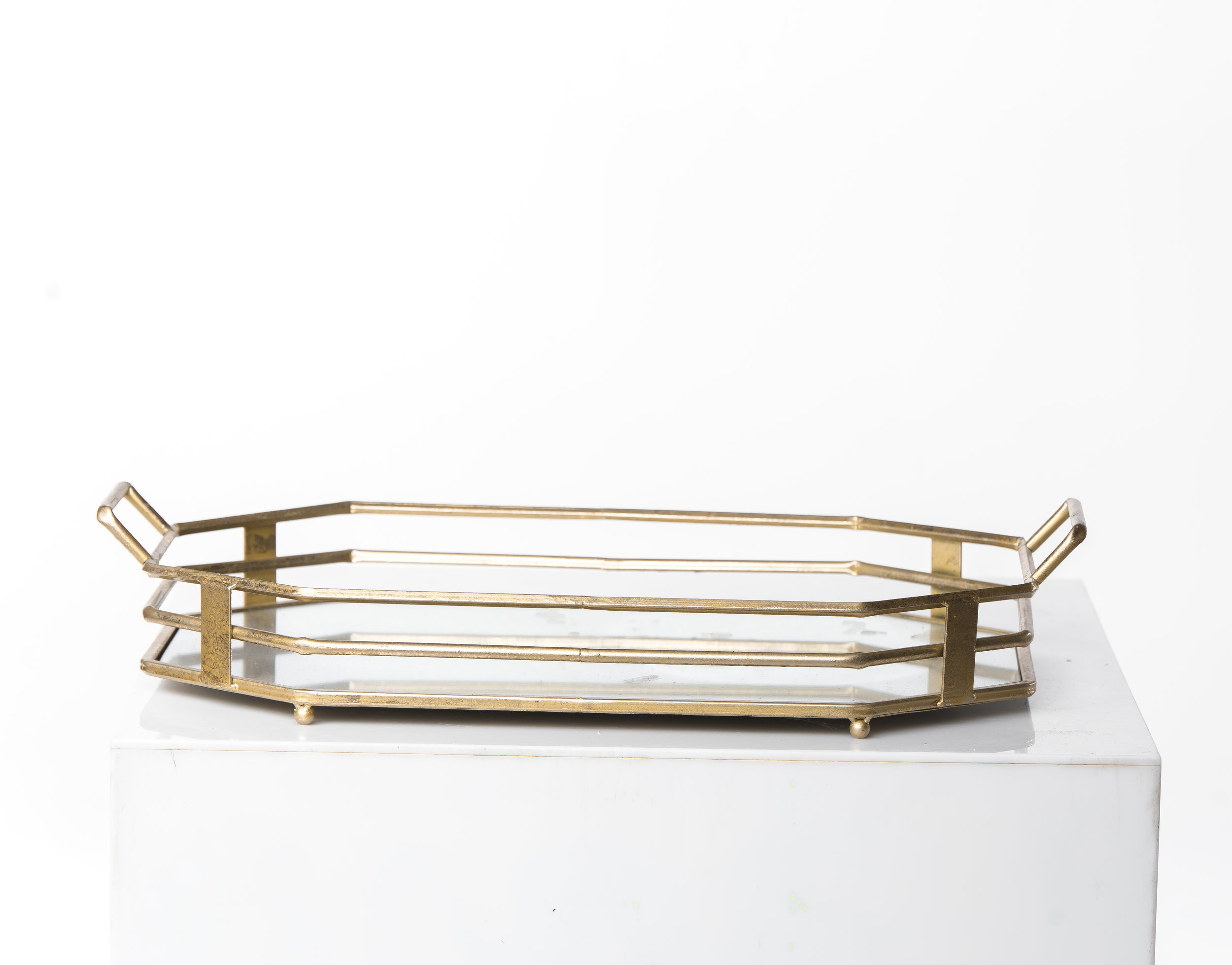 MIRROR GOLD SERVING TRAYS