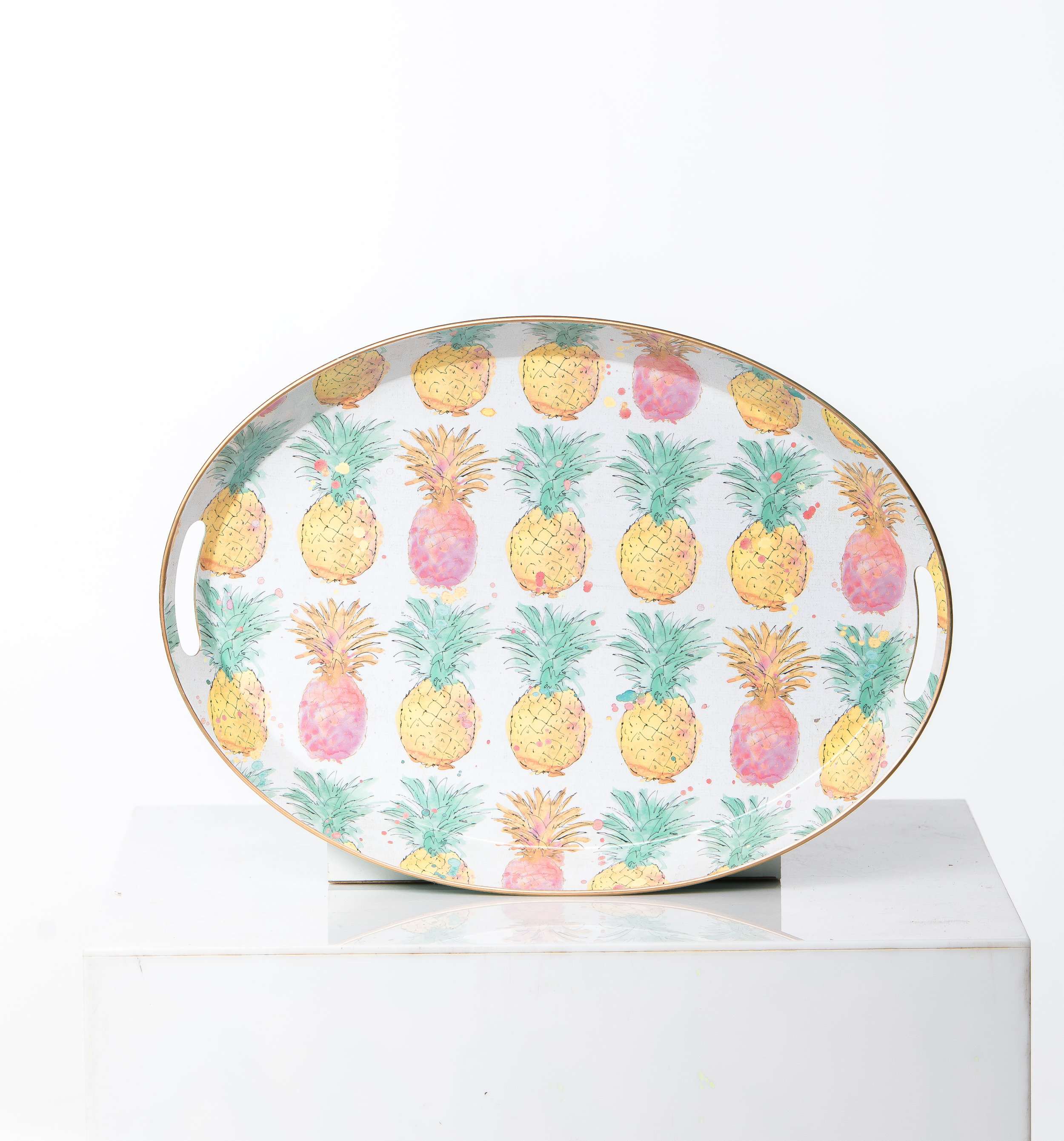 METAL PINAPPLE OVAL PLATTER