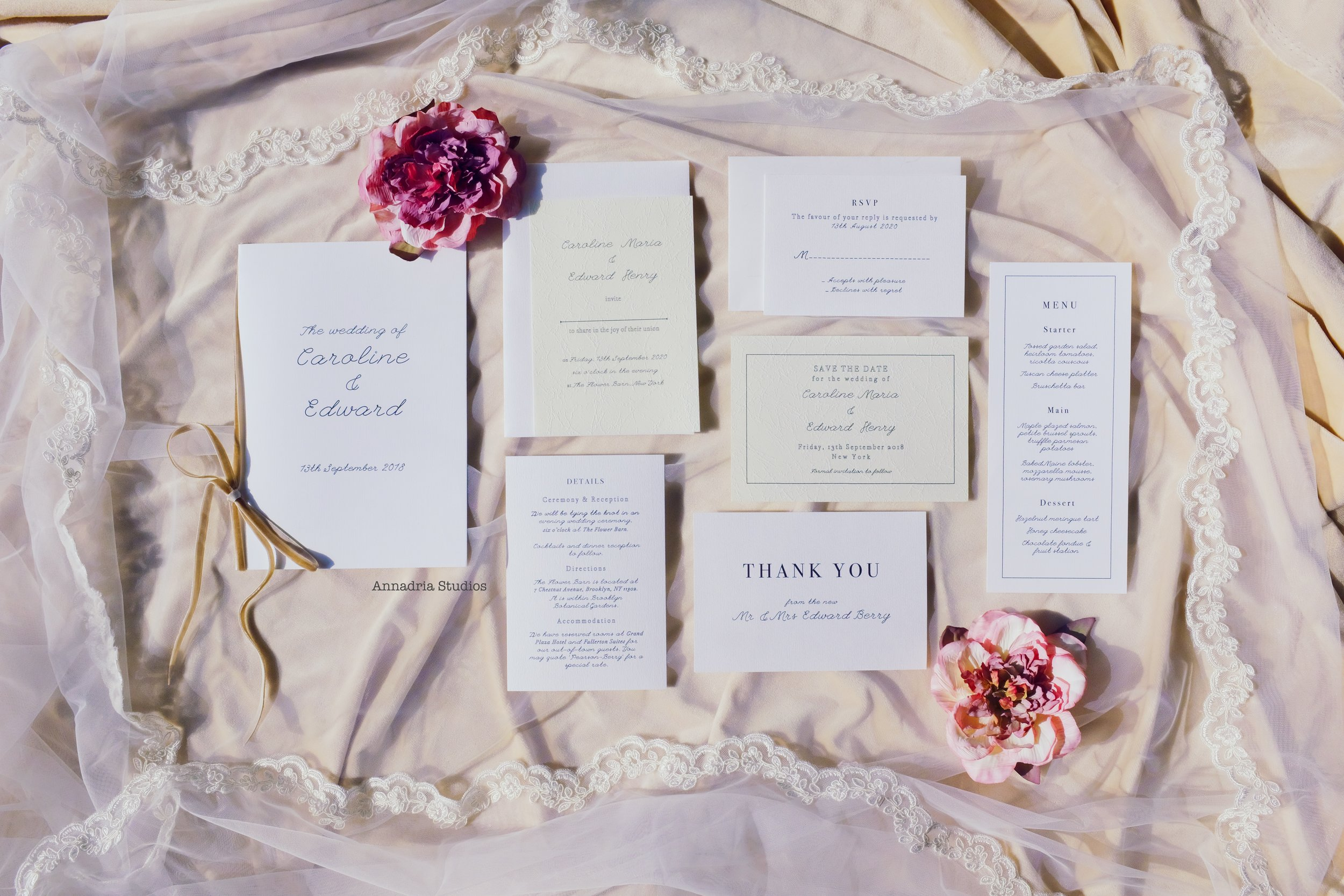 1. - Pick out an invitation suite theme you like from my shop. In this post, I feature my Caroline & Edward suite.