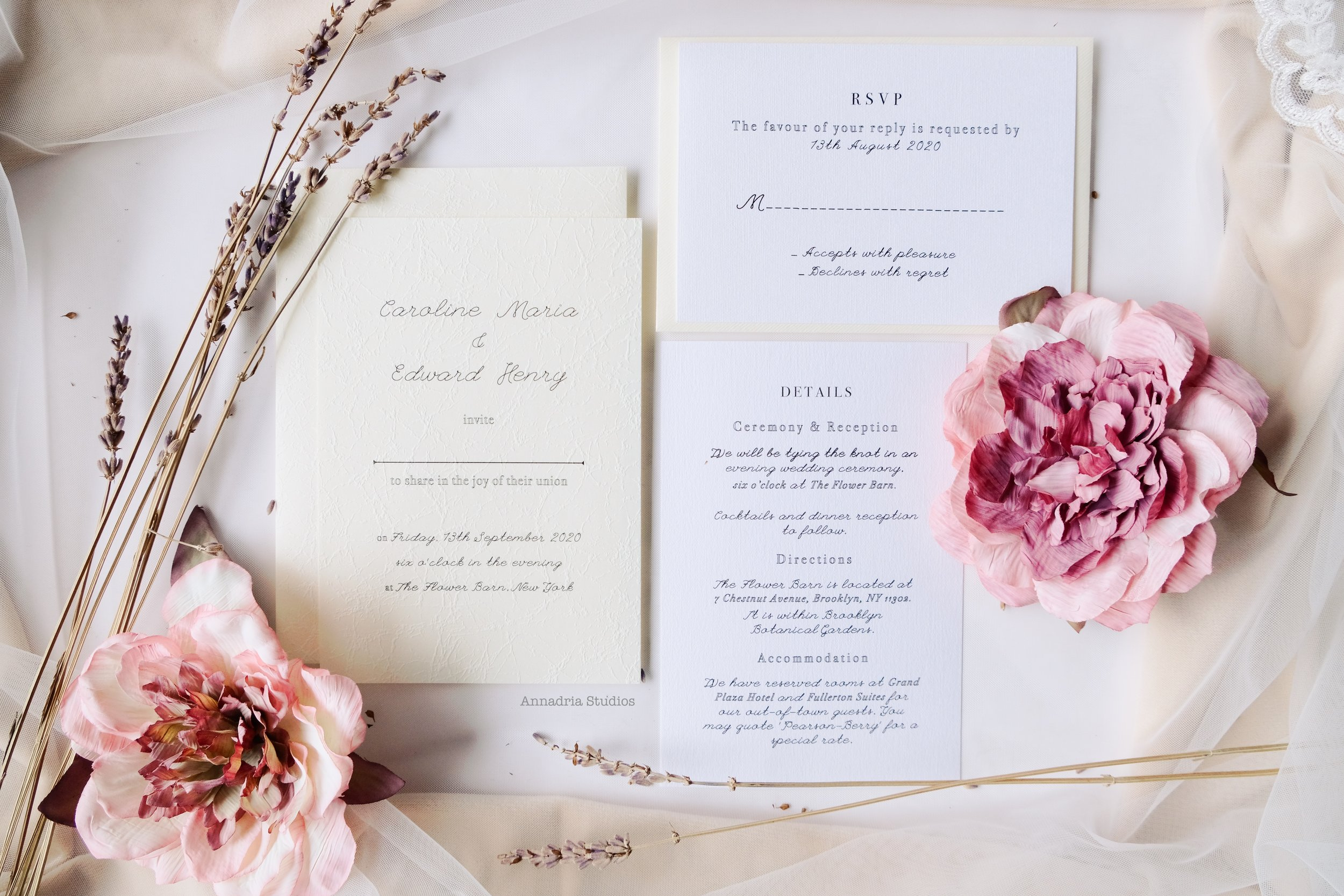 2. - Decide on the combination of stationery you'd like; invitation, save-the-date, RSVP, details, thank-you card, menu, program booklet.
