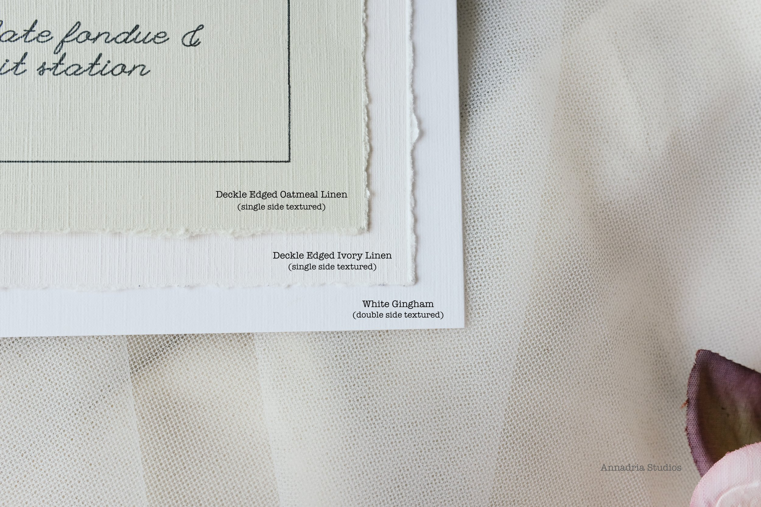 Choice of cardstock for menus and program booklets: White Gingham, Deckle Edge Oatmeal Linen, Deckle Edge Ivory Linen