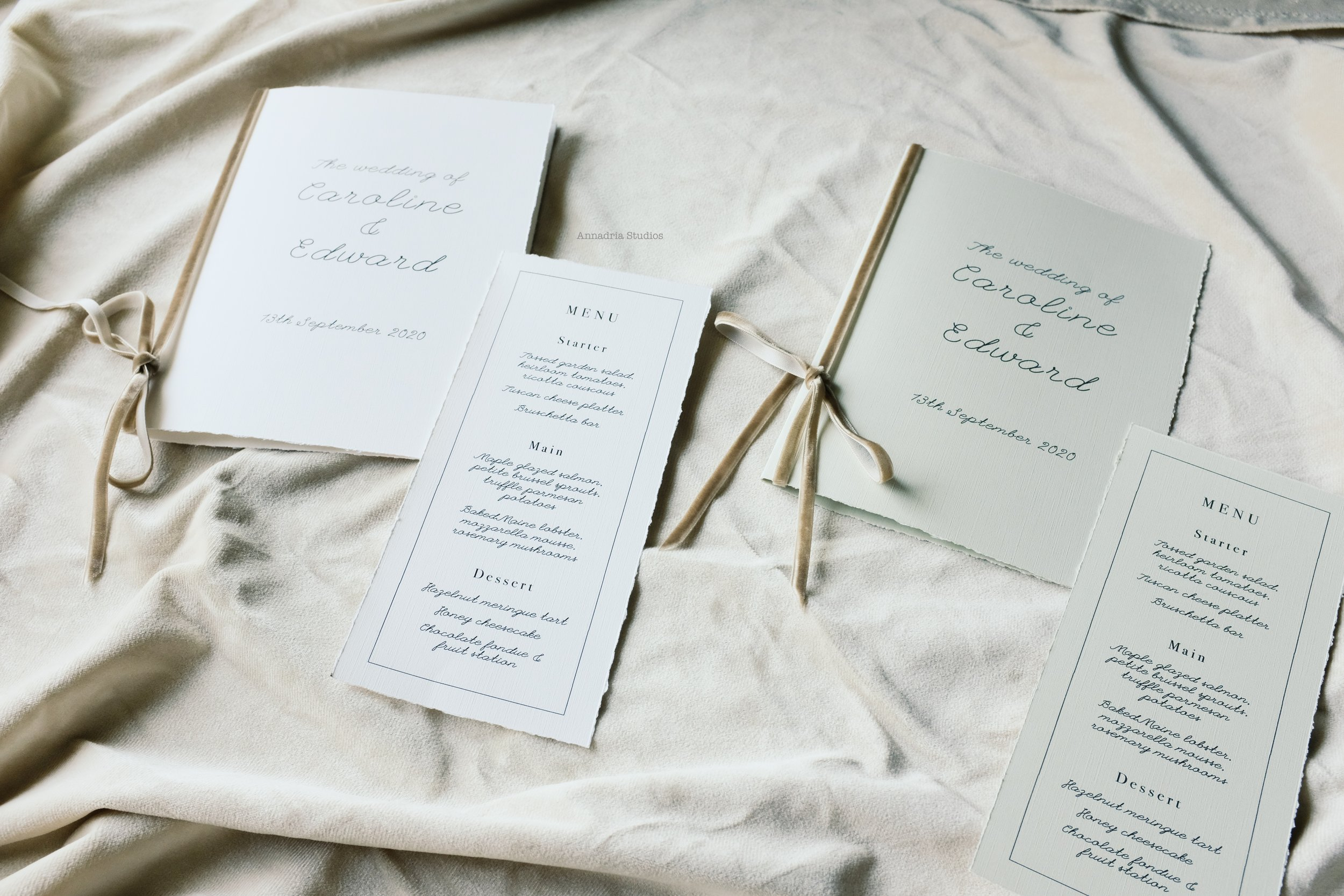Deckle edge linen program booklet and menu sets, available in Oatmeal and Ivory for that rustic touch.
