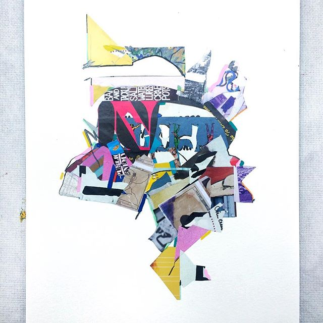 Leftovers. Made entirely from scraps found on my desk and floor. #collageart #scraps