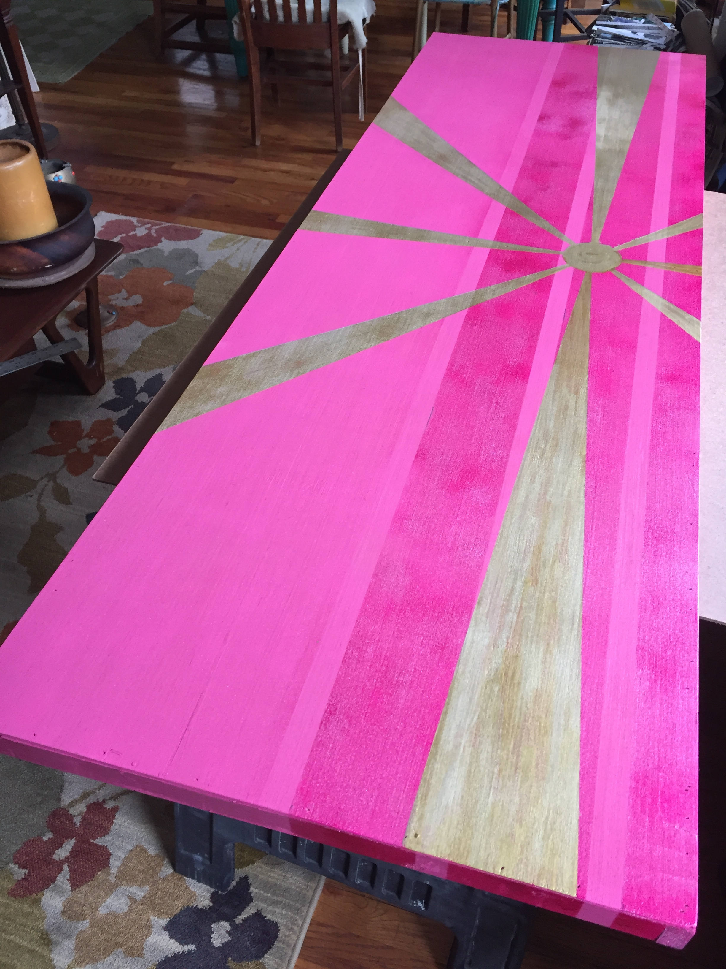 Happy to announce that the Pink Sun has set! Obvious base color is my beloved pink. More colors to come along the way:). 6X2Feet