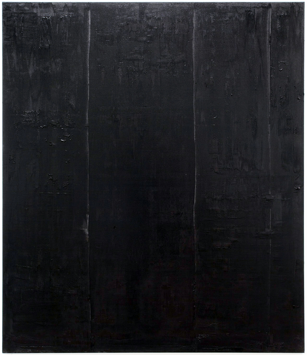 Untitled black monochrome painting (9.10.PBk9.CI77267/PBk11.Fe3O4) from the Frequency10. series. Oil, grit, graphite on canvas, 213.36cm x 182.88cm (84 inches x 72 inches), 2016-2017.