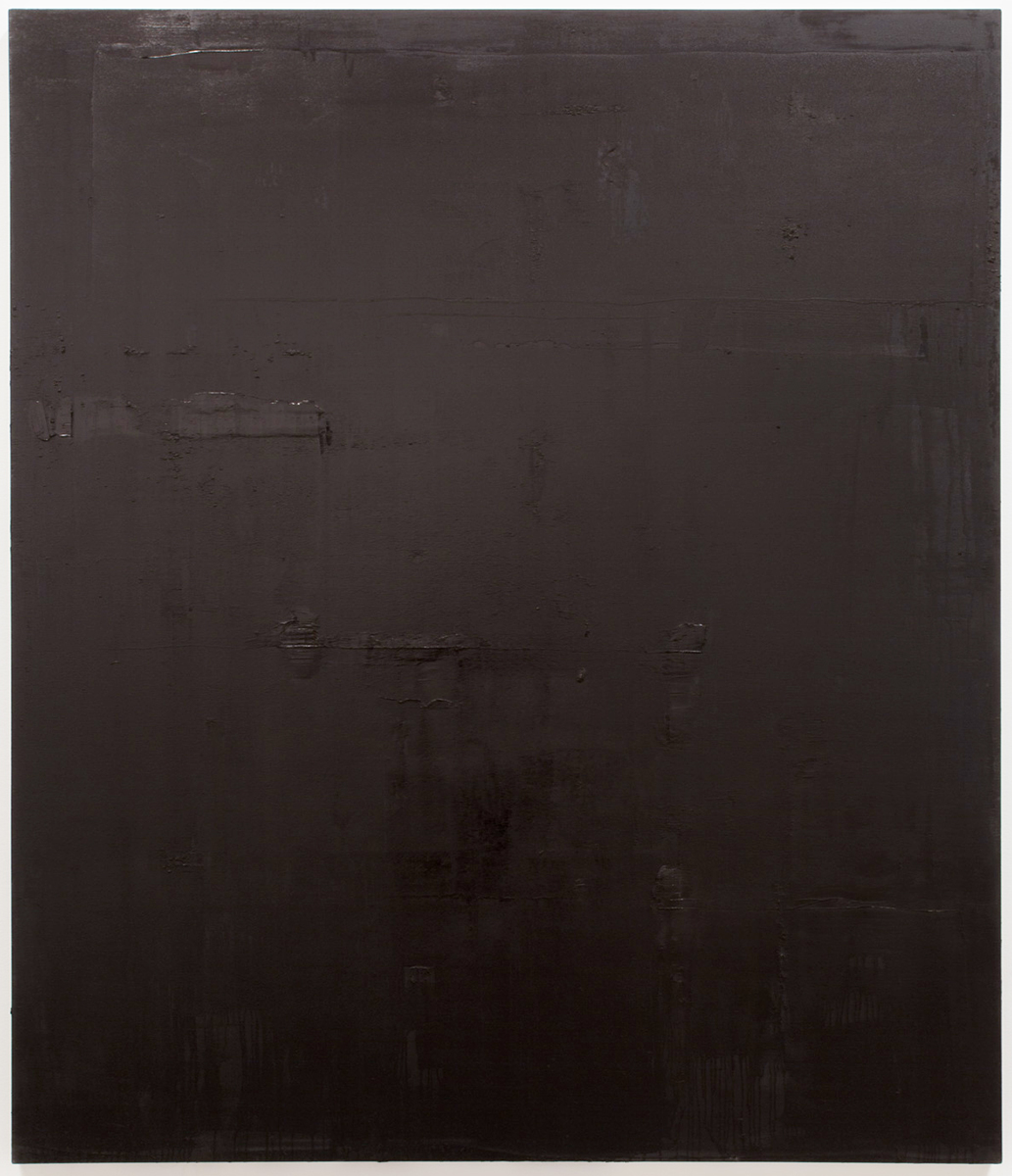 Untitled black monochrome painting (4.10.PBk9.CI77267/PBk11.Fe3O4) from the Frequency10. series. Oil, grit, graphite on canvas, 213.36cm x 182.88cm (84 inches x 72 inches), 2016-2017.