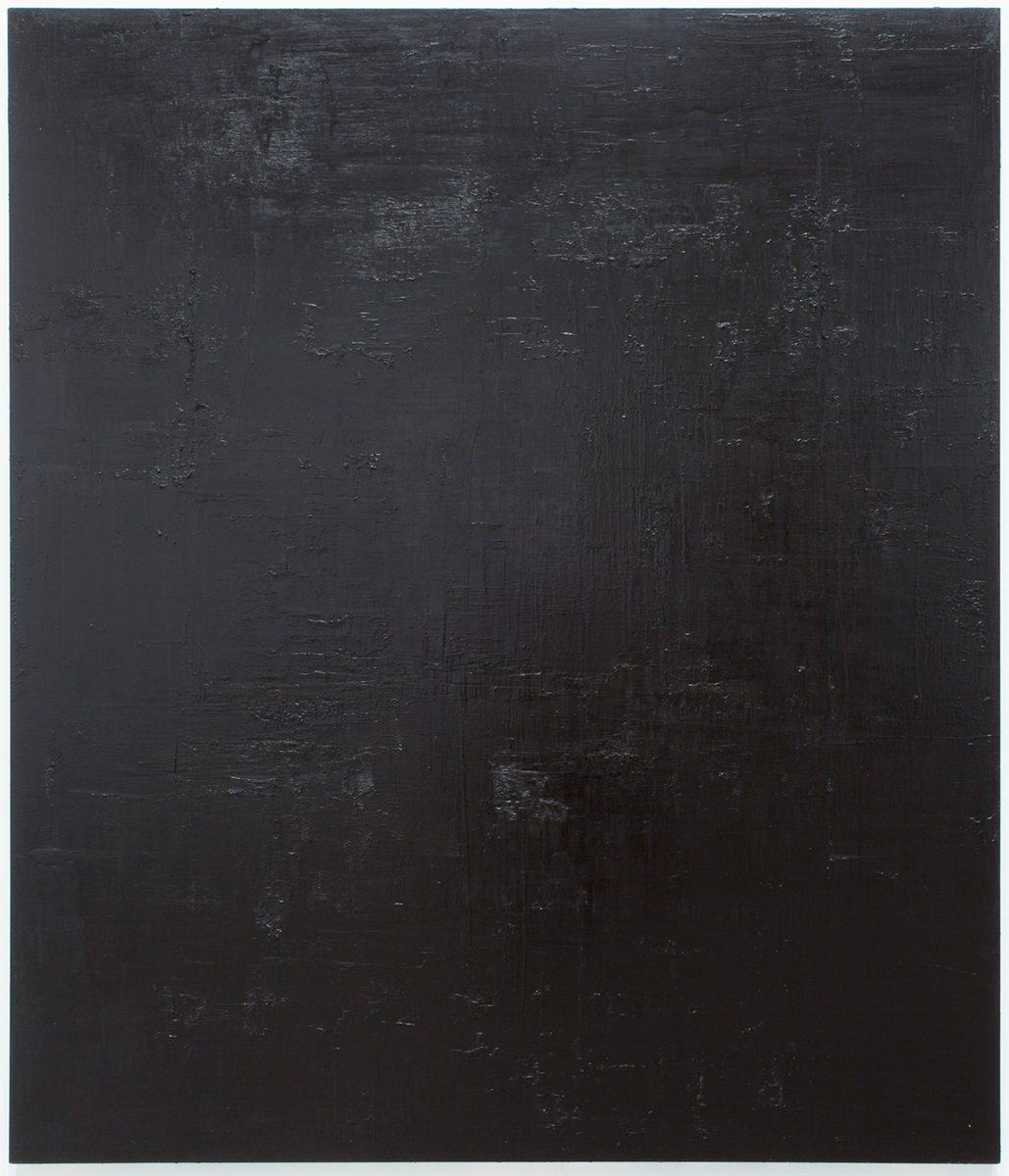 Untitled black monochrome painting (7.10.PBk9.CI77267/PBk11.Fe3O4) from the Frequency10. series. Oil, grit, graphite on canvas, 213.36cm x 182.88cm (84 inches x 72 inches), 2016-2017.