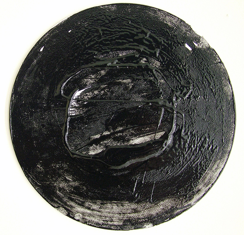 "Signal I. Resin, soot, paint on canvas, 10"" diameter, 2018."