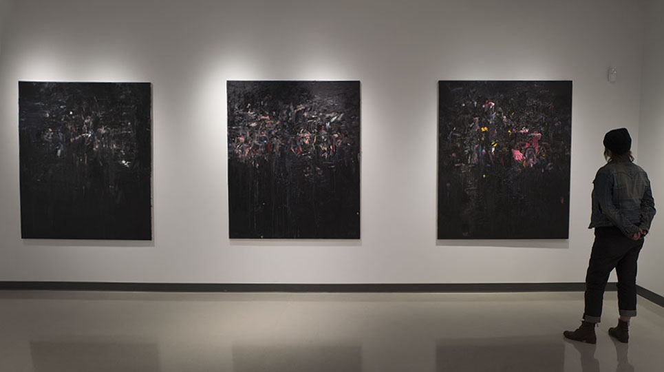 "Installation Hatch Gallery, Vancouver. Into the night, Into the dark woods, Into dream. Each Into dream. Oil on linen, 68x58"". 2015 Hatch Gallery, Vancouver."
