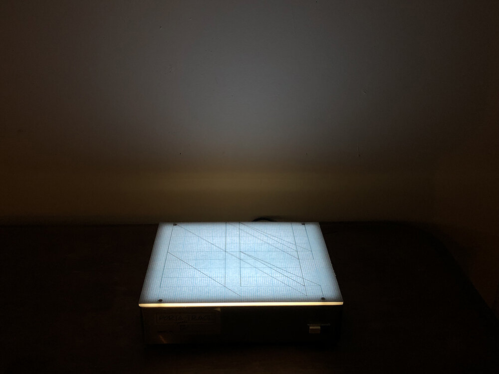 """Floating on the horizon line of humanity exist numbers equating to 1. Four drawings, graphite on bond paper placed on light box, each drawing 9 ¾ x 12 ¼ overall 9 ¾ x 12 ¼ x 3 ¼"""" variable, 2019"""