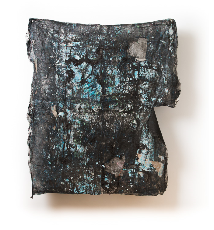 Distant Past   mistinted house paints, bitumen rubber, tissue paper, detritus, cardboard on muslin, steel supports  174 x 150 x 23 cm  Photograph James Field, courtesy Adelaide Central School of Art