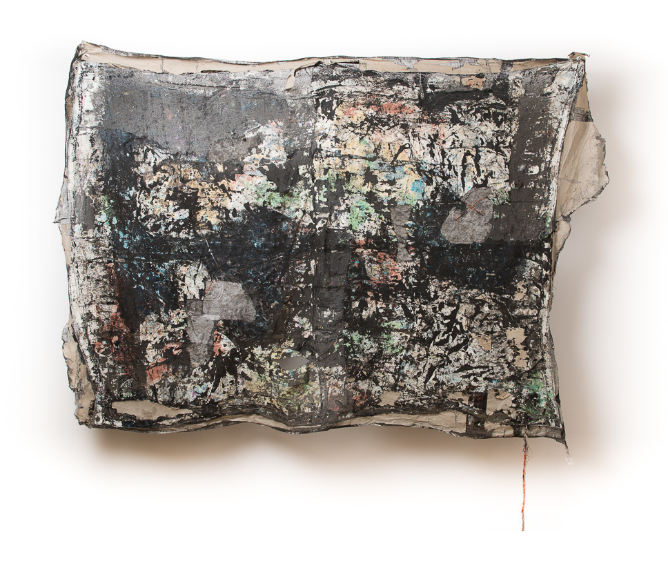 Parting    mistinted house paints, bitumen rubber, tissue paper, rope, detritus, cardboard on muslin, steel supports  168 x 224 x 23 cm  Photograph James Field, courtesy Adelaide Central School of Art