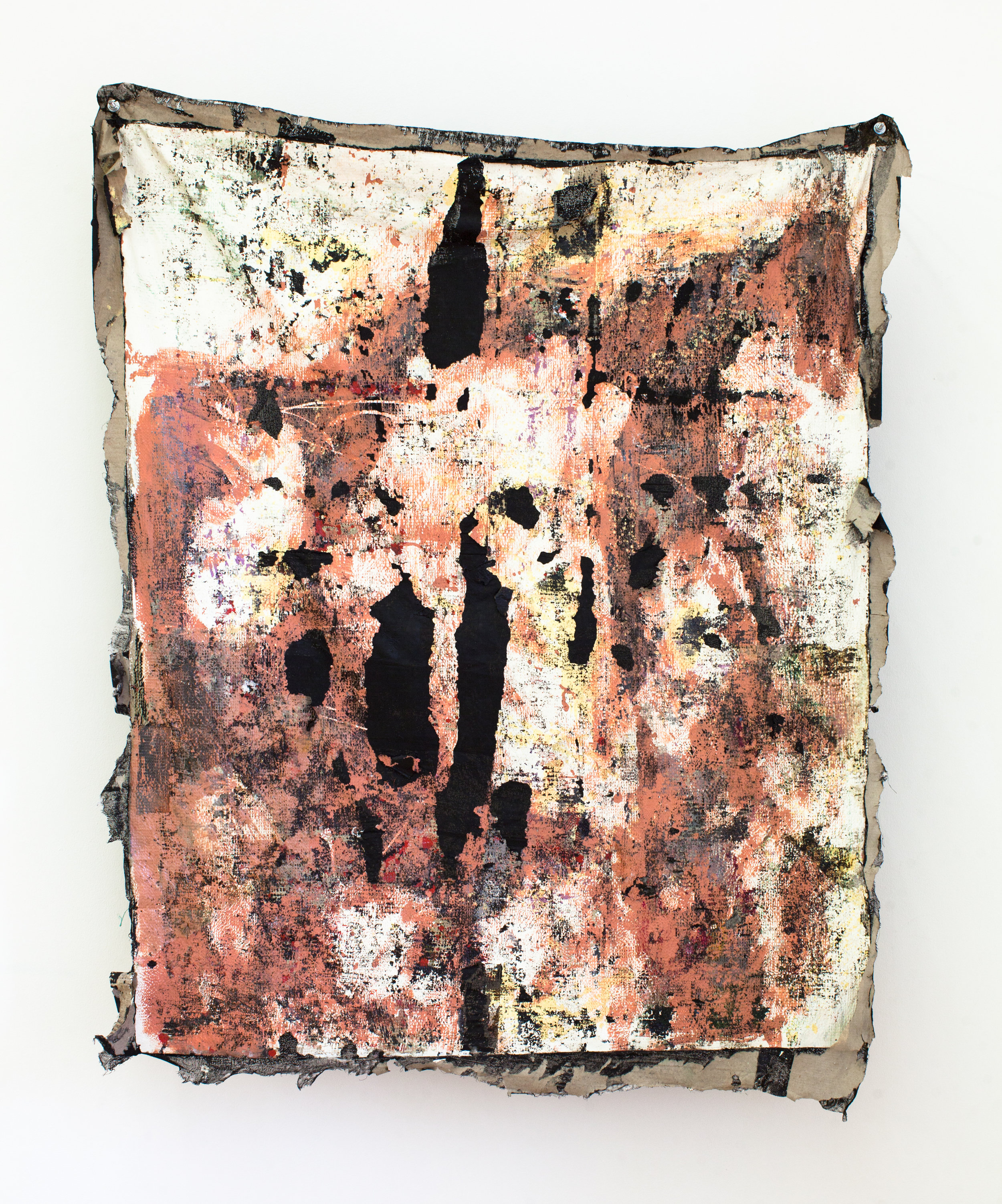 Everything Goes   mistinted house paints, bitumen rubber, pastel, plastic, detritus, cardboard on muslin, steel supports  129 x 105 x 23 cm  Photograph James Field, courtesy Adelaide Central School of Art