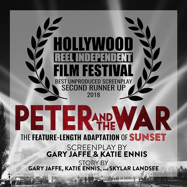 """So pumped to announce that #HRIFF2018 has named """"Peter and the War,"""" our feature-length adaptation of #SunsetFilm, Second Runner Up in the Unproduced Screenplay Competition. Here's hoping it won't be too long before you all get to see this beauty on the silver screen. #PeterAndTheWar #SupportIndieFilm #gaysinfilm #LGBTfilm #WomenInFilm #Screenwriting"""
