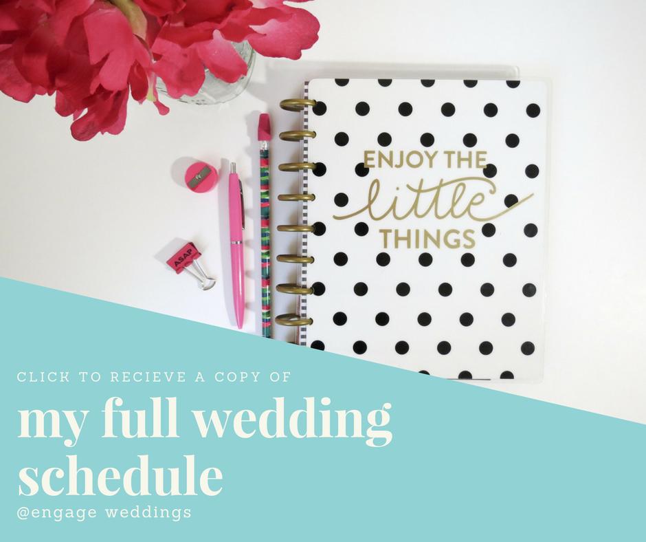 my 8 page wedding schedule