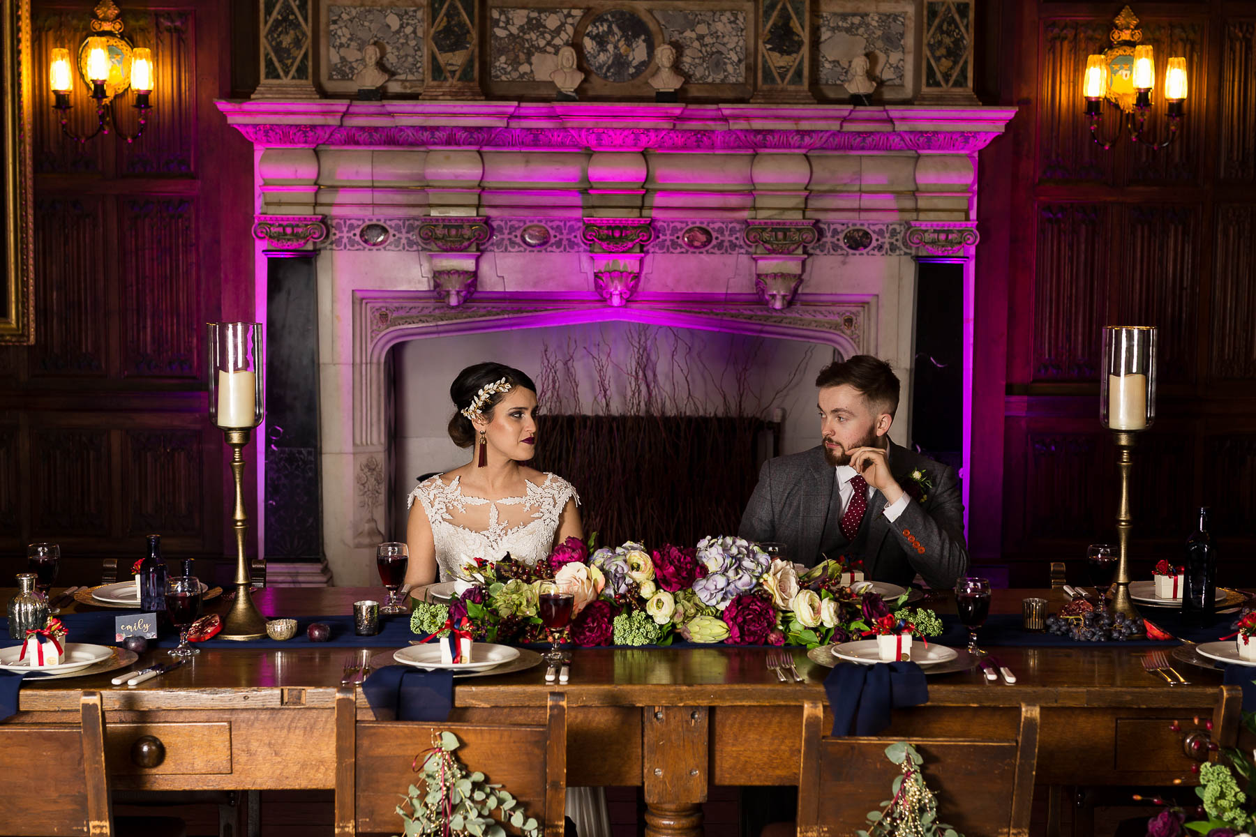 Red berry and navy wedding ideas wedding table